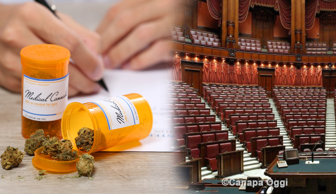 Doctor writing on prescription blank and bottle with for Video camera dei deputati oggi