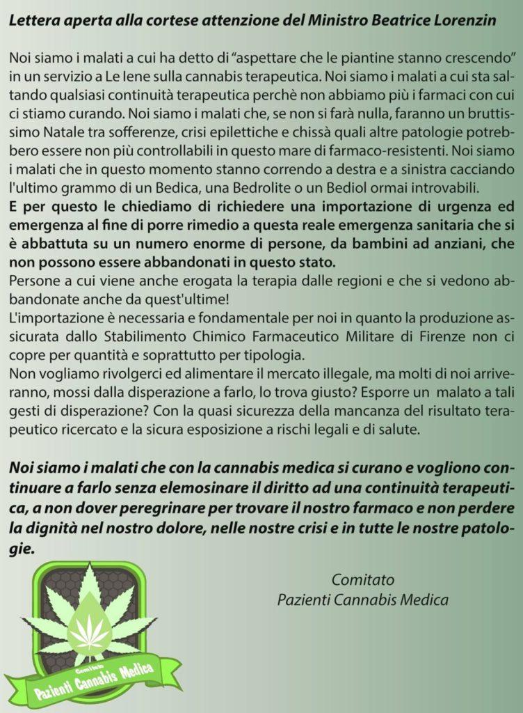 Lettera aperta Comitato Pazienti Cannabis Medica al ministro Lorenzin