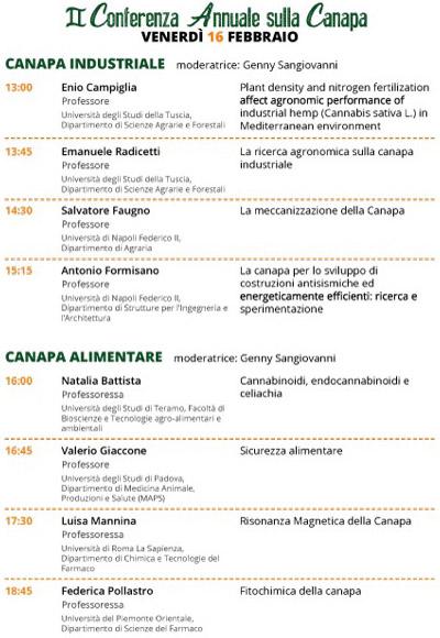 Roma e Canapa Mundi programma 16 febbraio 2018