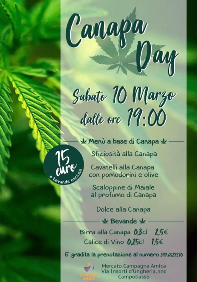 Canapa Day a Campobasso il 10 marzo 2018