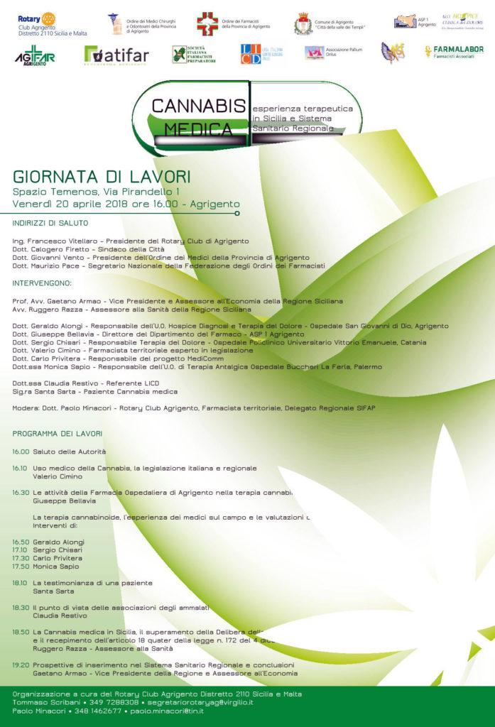 Cannabis medica esperienza terapeutica in Sicilia e Sistema Sanitario Regionale, convegno ad Agrigento