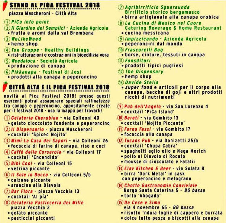 Bergamo PiCa Festival 2018 stand e locali