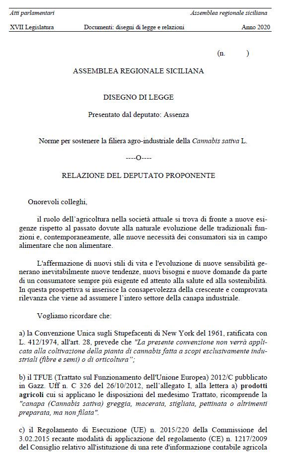DDL sulla Canapa Industriale per promuovere in Sicilia