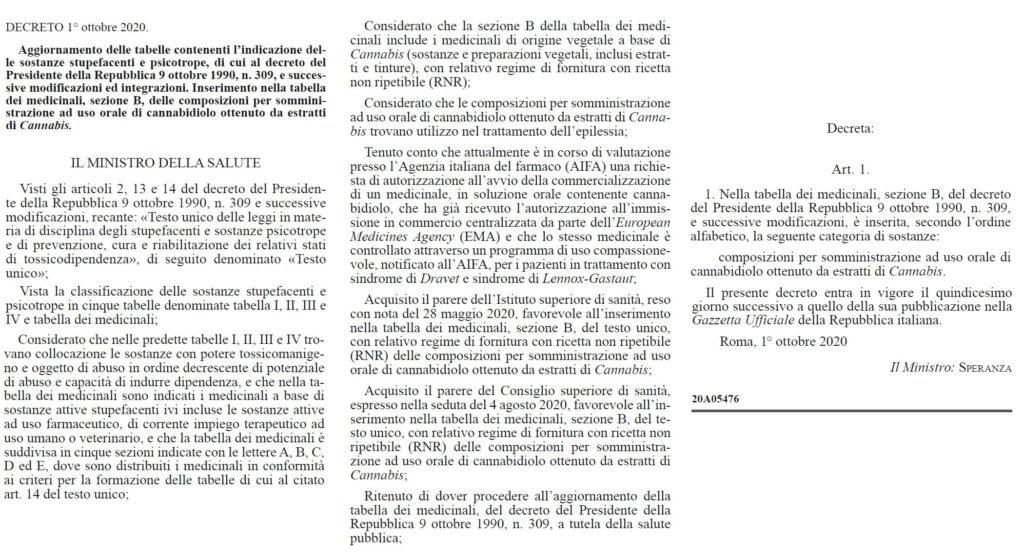 CBD Cannabidiolo decreto primo ottobre 2020